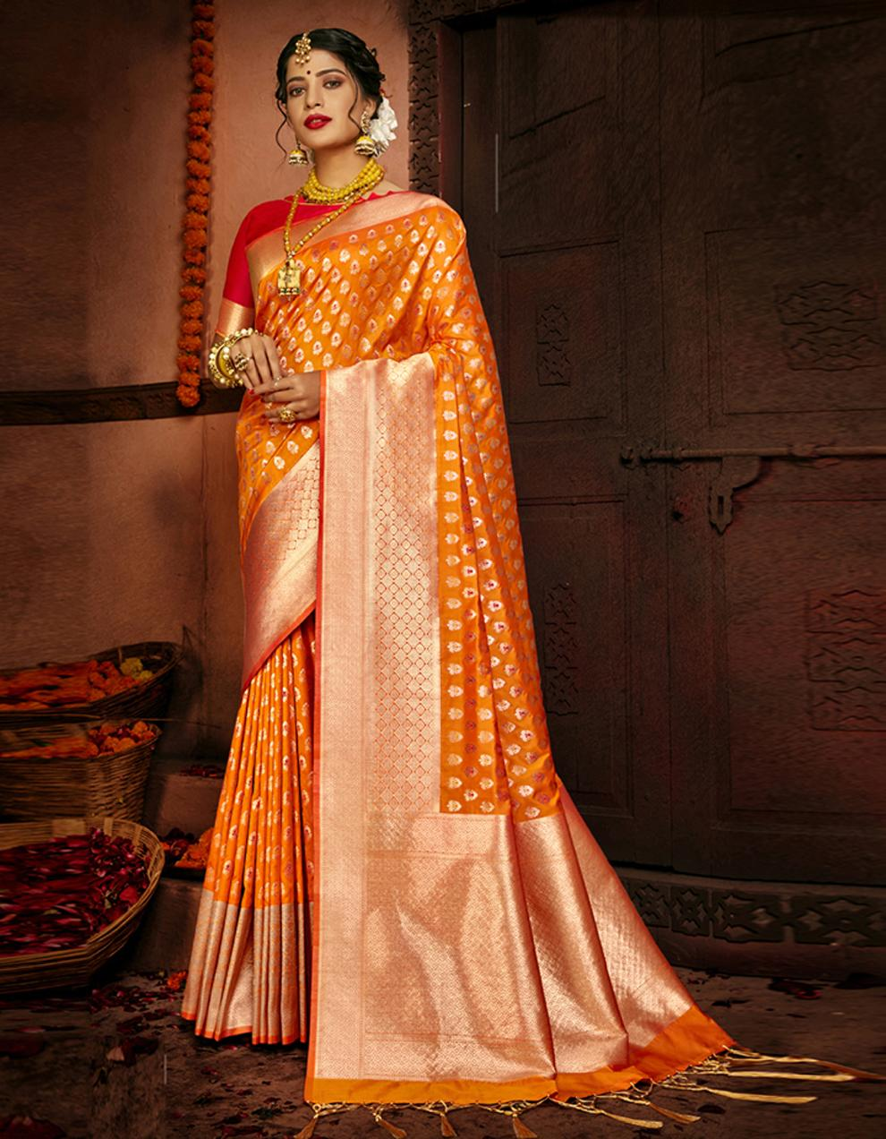 Orange Lichi Silk Saree With Blouse SD24112
