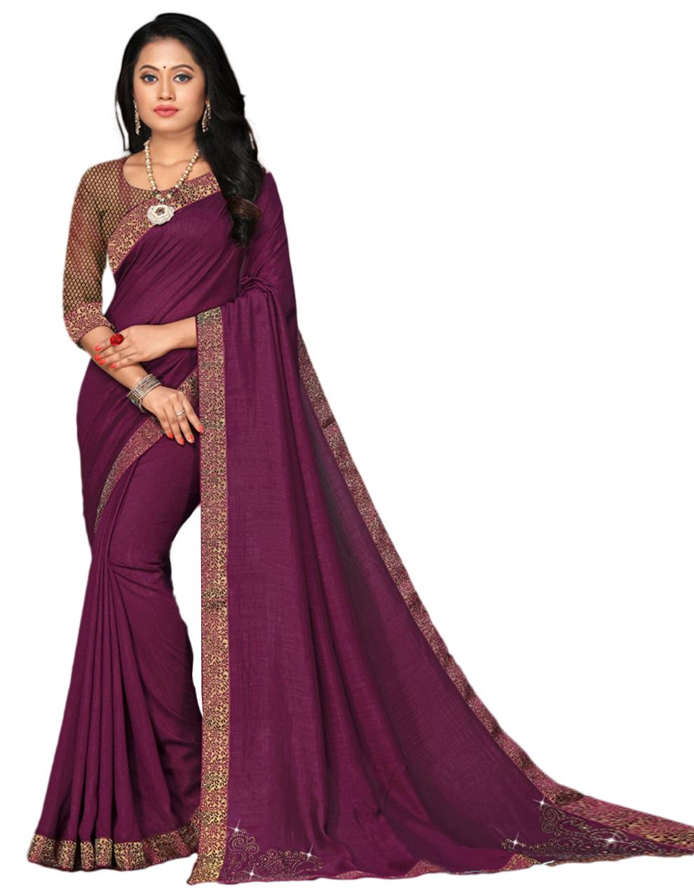 Purple Vichitra silk Saree With Blouse IW24331