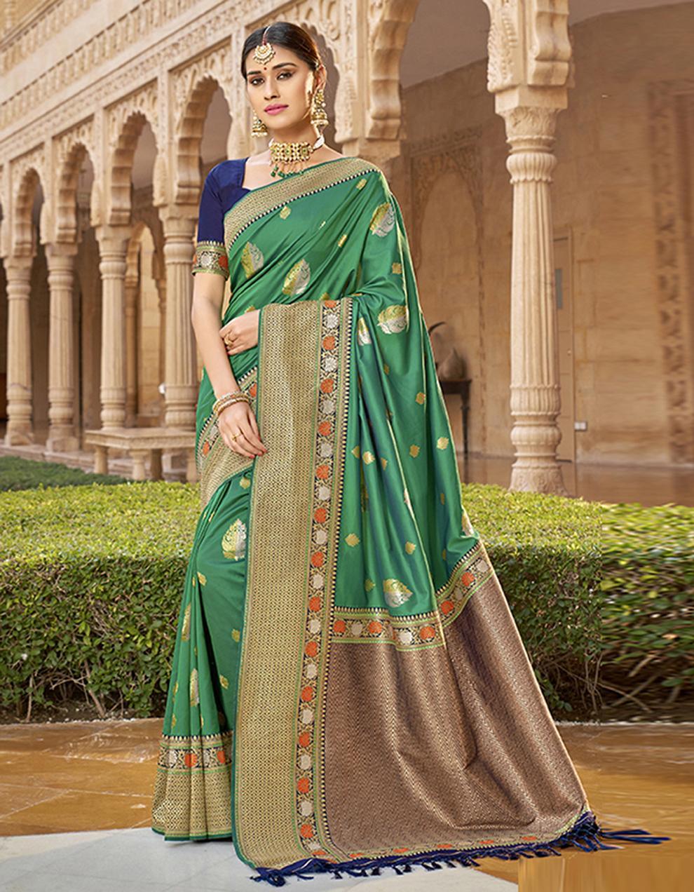 Green Silk Saree With Blouse SD23776
