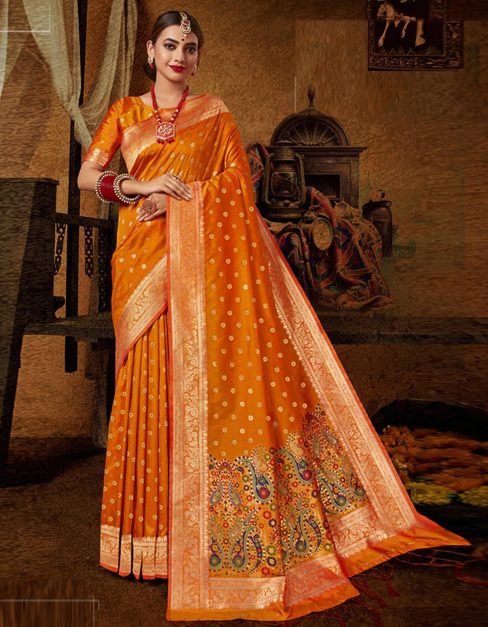 Orange Lichi Silk Saree With Blouse SD24093
