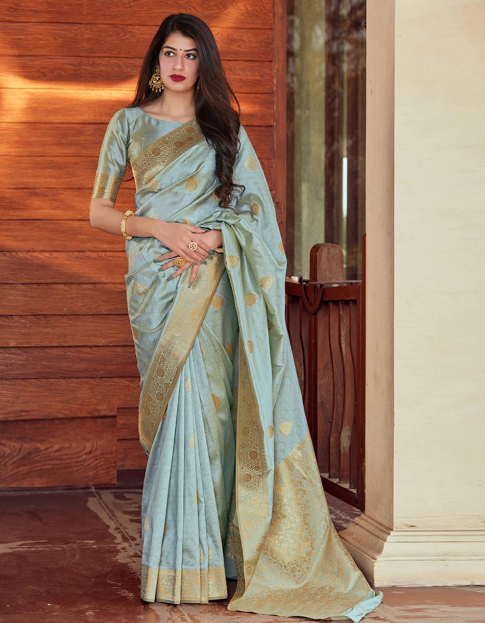 Sky blue Silk Saree With Blouse SD24079