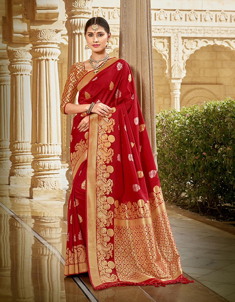 Red Silk Saree With Blouse SD23782