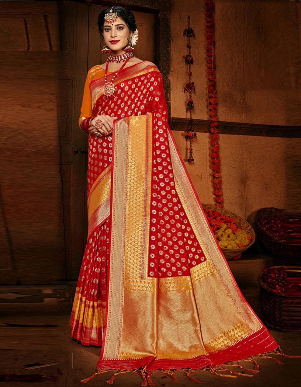 Red Lichi Silk Saree With Blouse SD24102