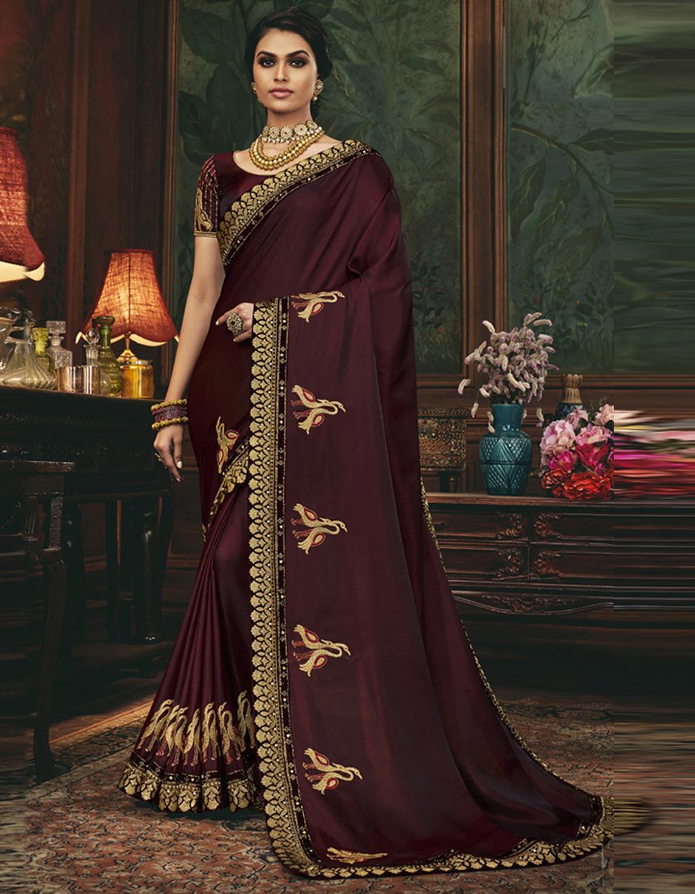 Maroon Silk Saree With Blouse SD24066