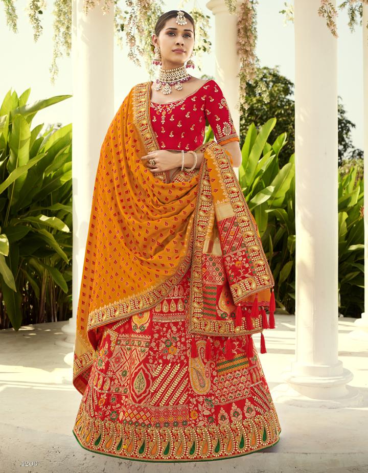 Banarasi Silk Red Semi Stitched Lehenga with Choli And Dupatta LSD2808