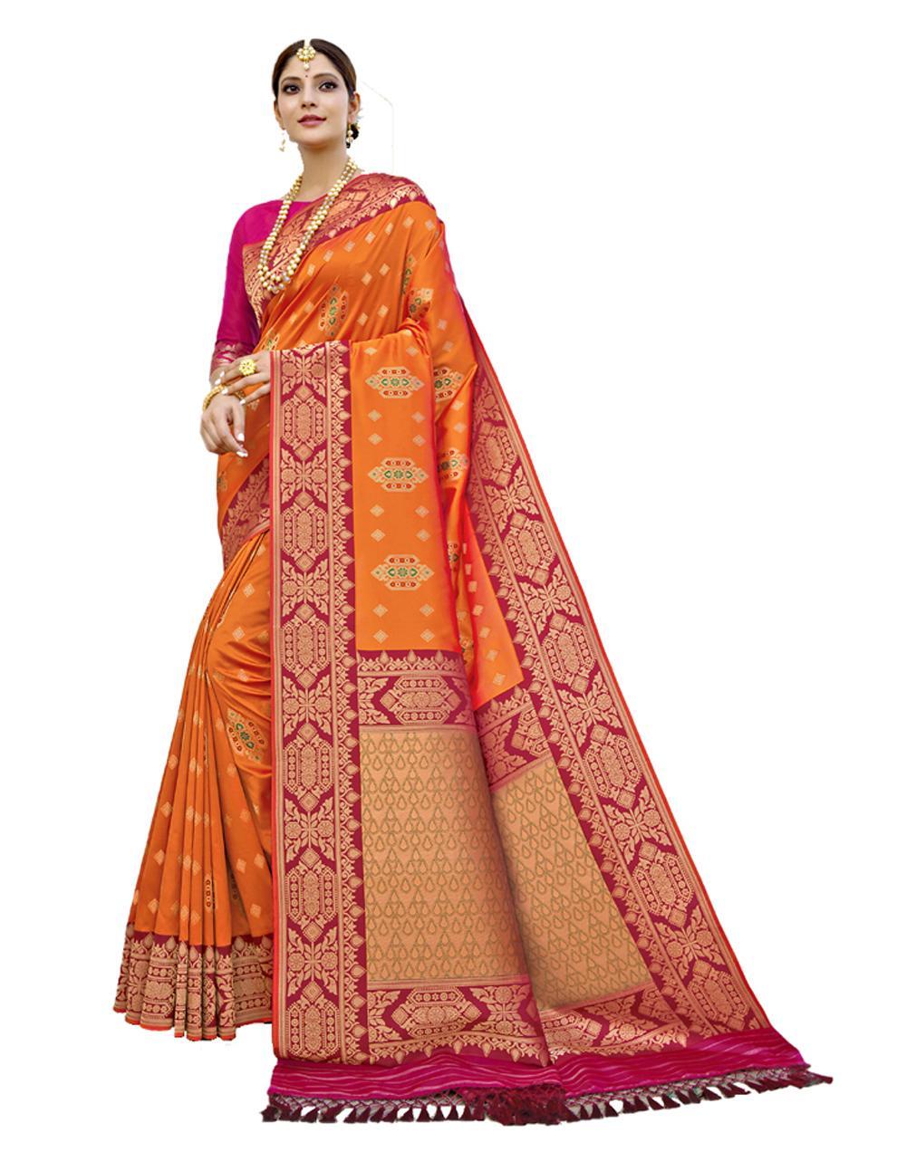 Multicolor Banarasi Silk Saree With Blouse SD24204