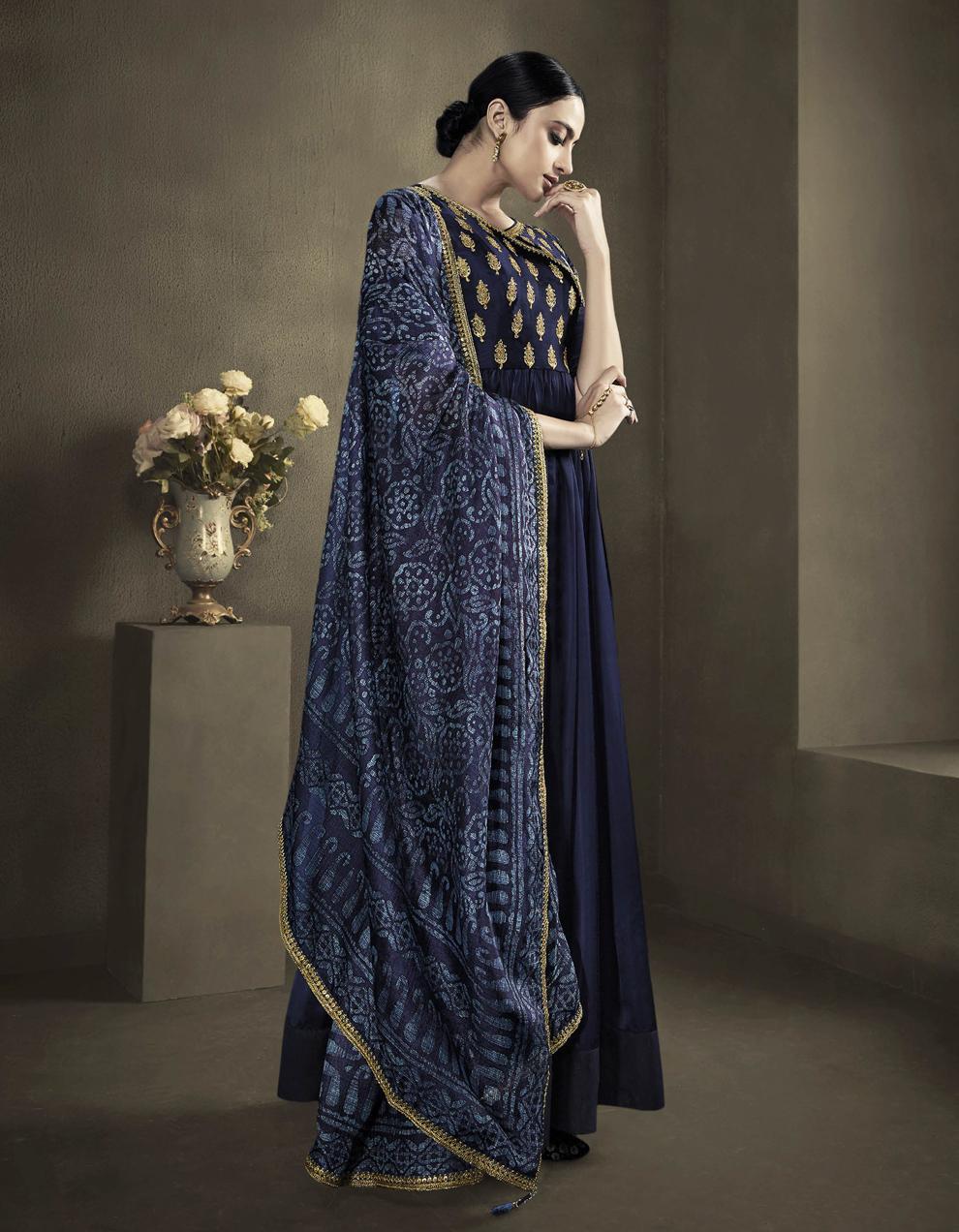 Navy Blue Satin Georgette Anarkali Suit SMF8552