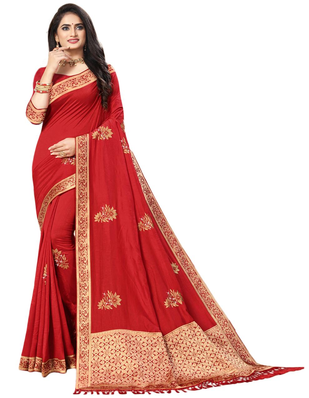 Red Vichitra silk Saree With Blouse IW24346