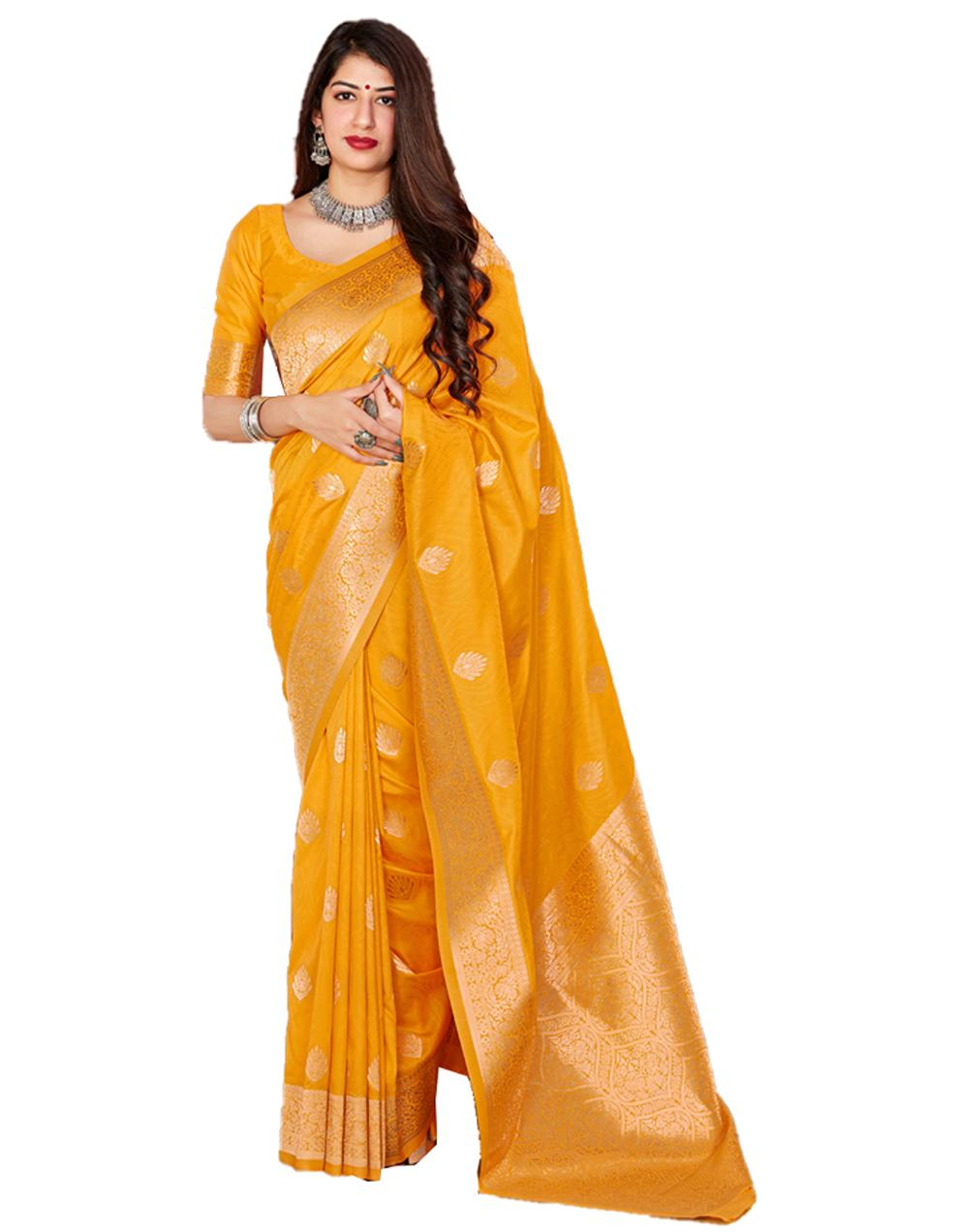 Yellow Silk Saree With Blouse SD24129