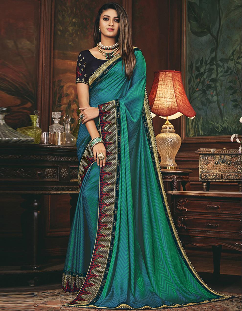 Sea green Silk Saree With Blouse SD24058