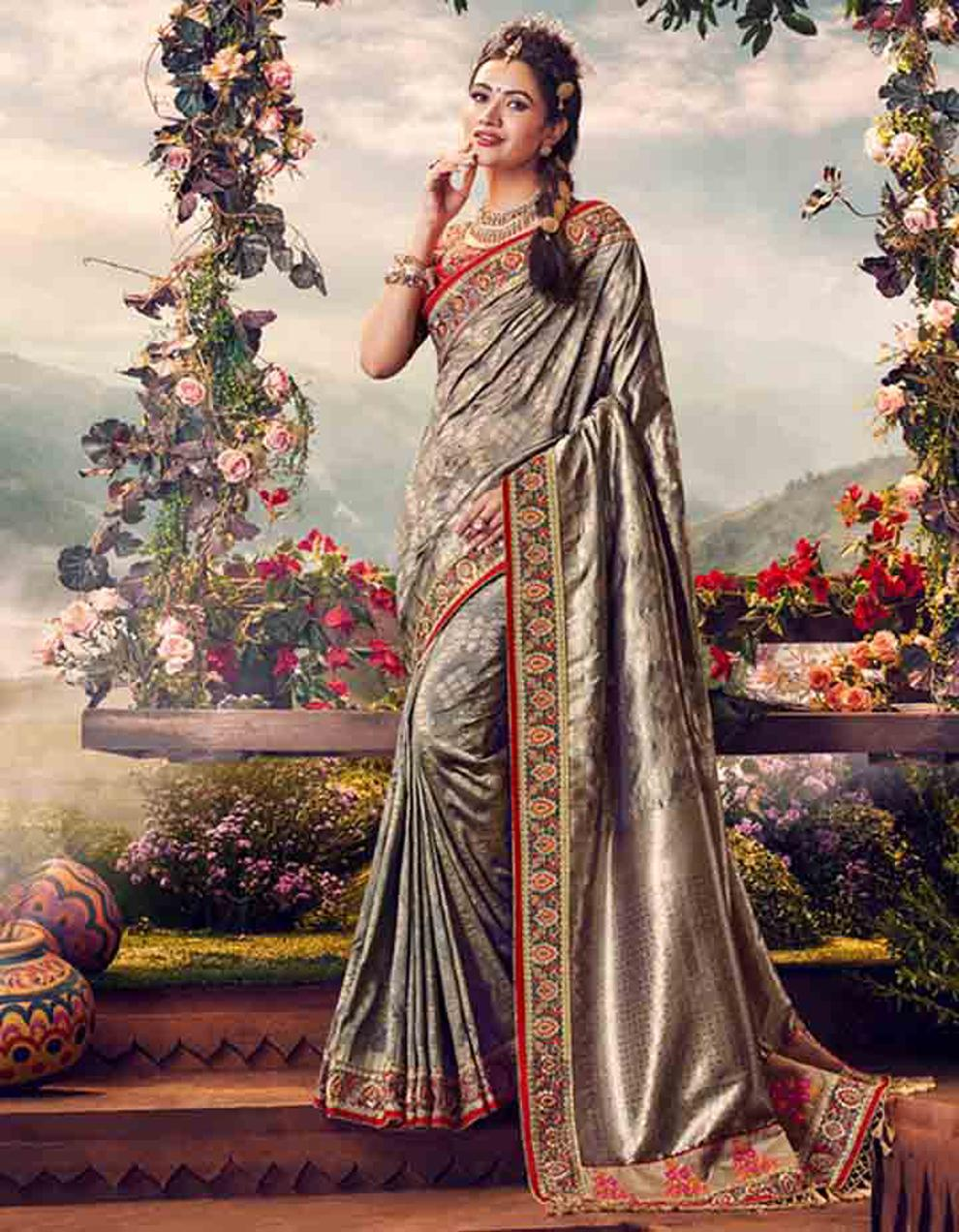 Grey Banarasi silk Saree With Blouse SD23884