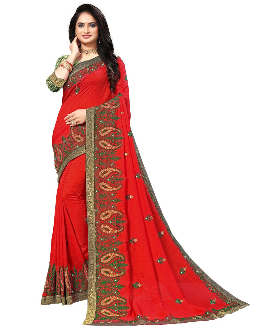 Red Vichitra silk Saree With Blouse IW24384
