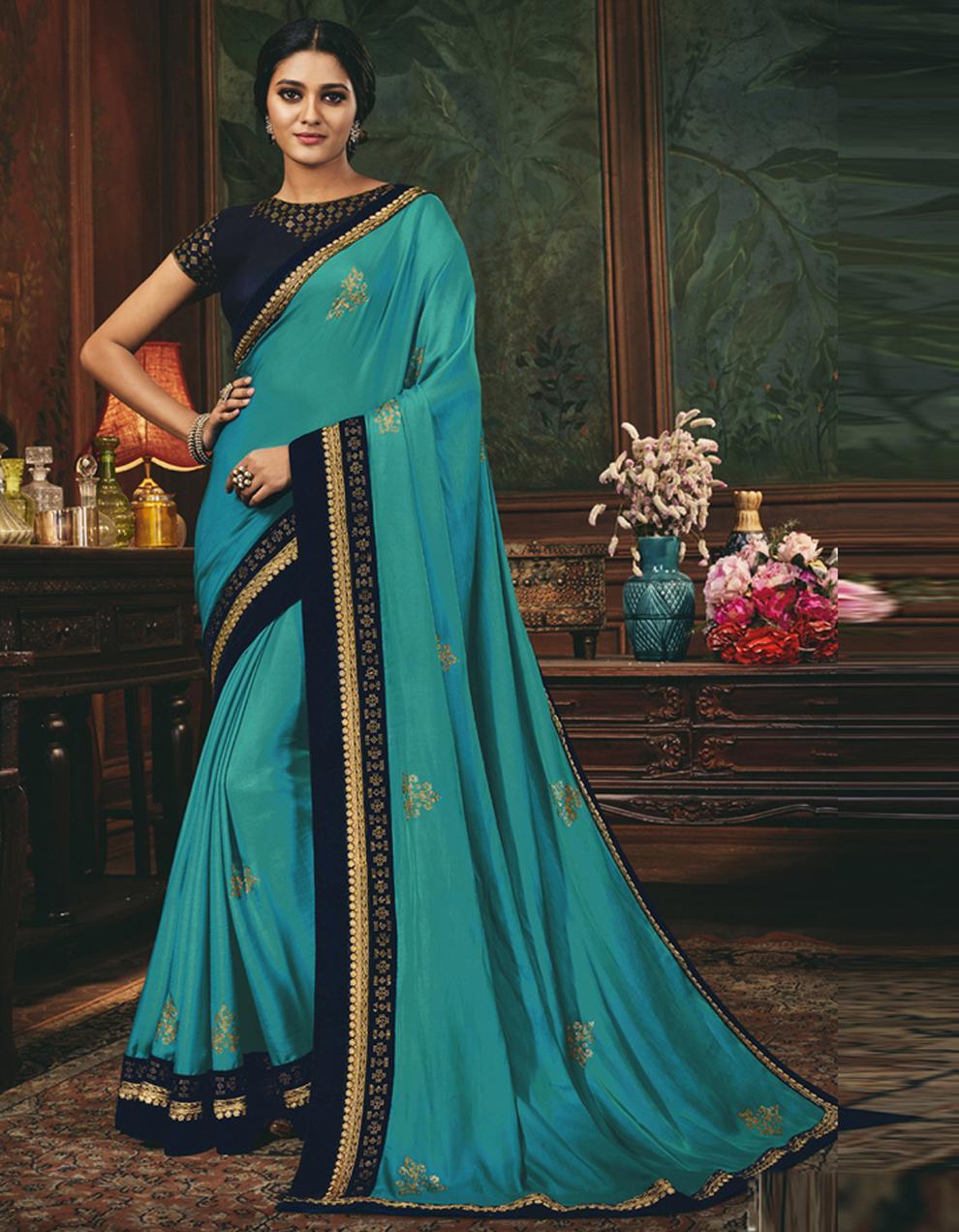 Blue Silk Saree With Blouse SD24070
