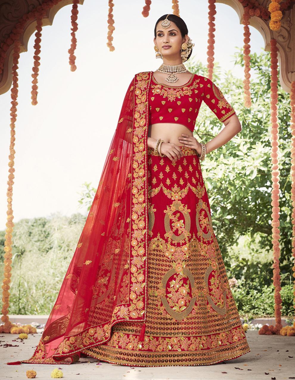 Silk Red Semi Stitched Lehenga with Choli And Dupatta LSD2798