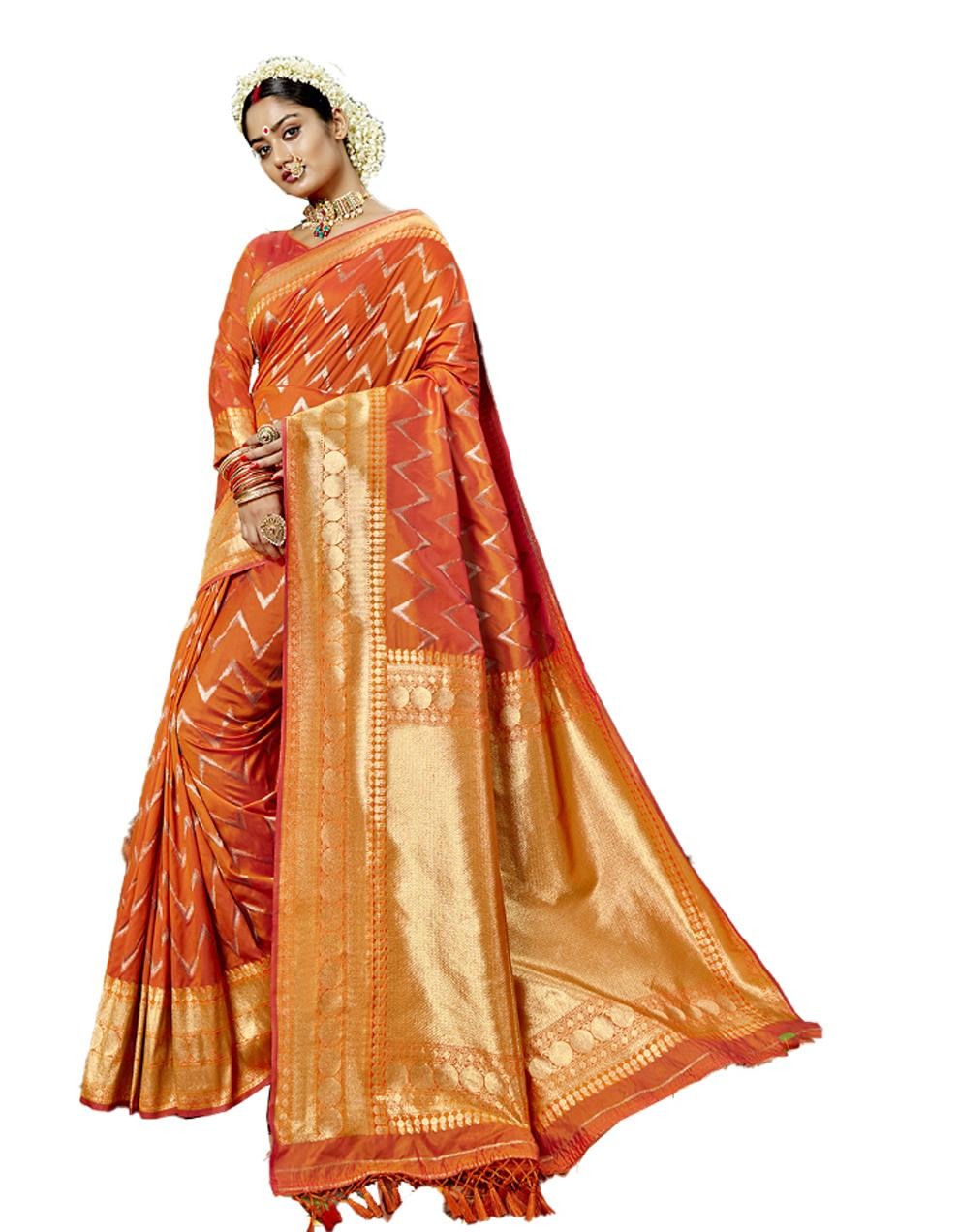 Orange Silk Saree With Blouse SD23816