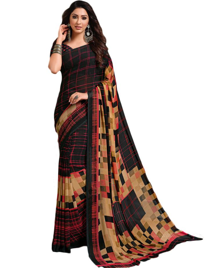Black Georgette Saree With Blouse IW24640
