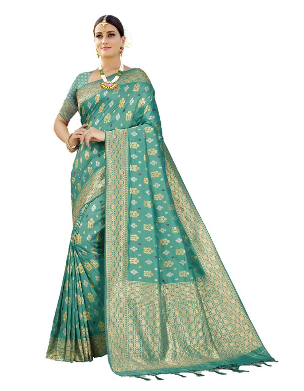 Sky blue Banarasi Silk Saree With Blouse SD24207