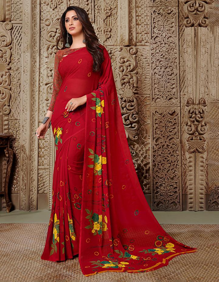 Red Georgette Saree With Blouse IW24628