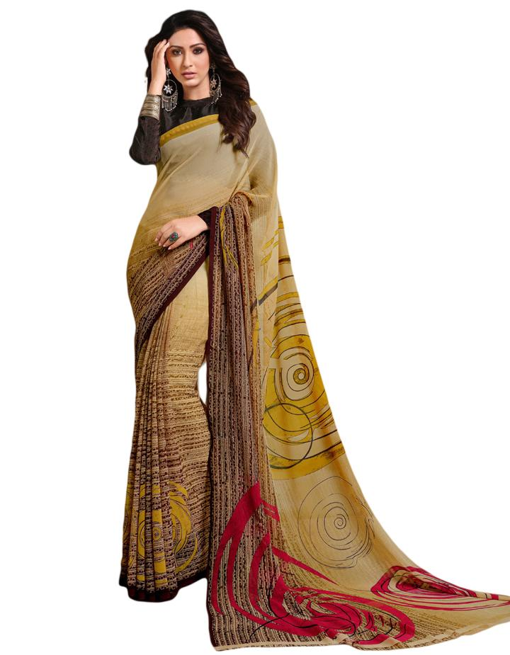 Yellow Georgette Saree With Blouse IW24634