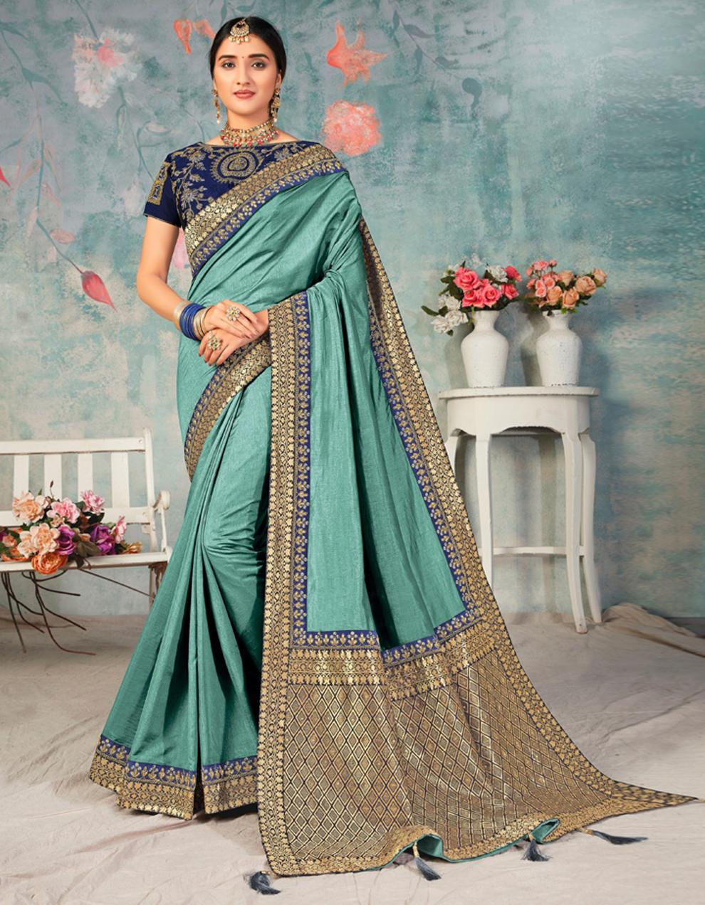 Green Poly Silk Saree With Blouse IW24464