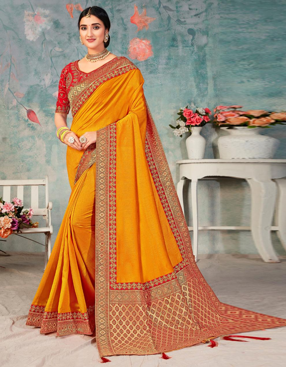 Mustard Poly Silk Saree With Blouse IW24462