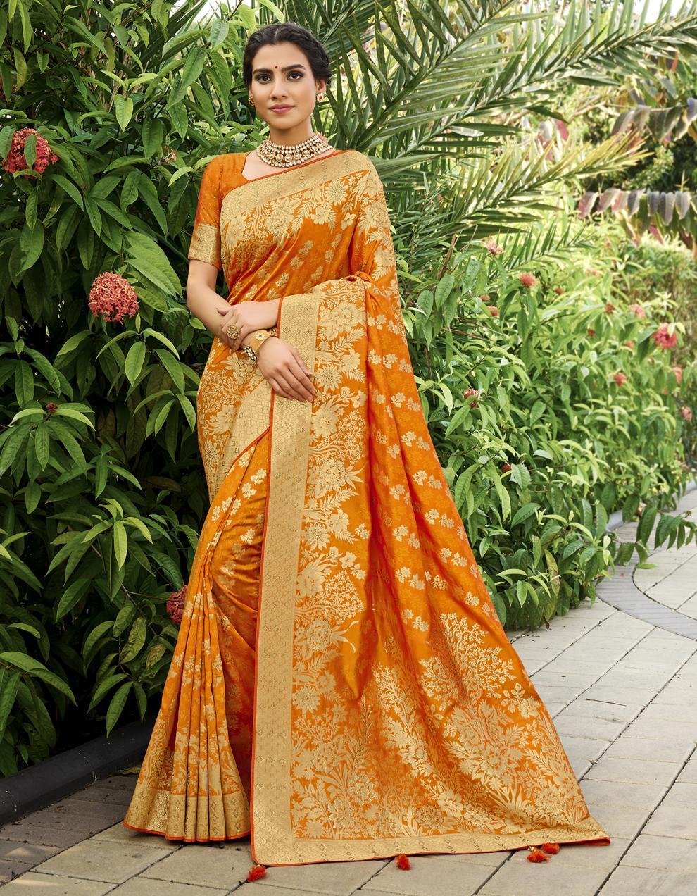 Orange Banarasi Silk Saree With Blouse SD25239