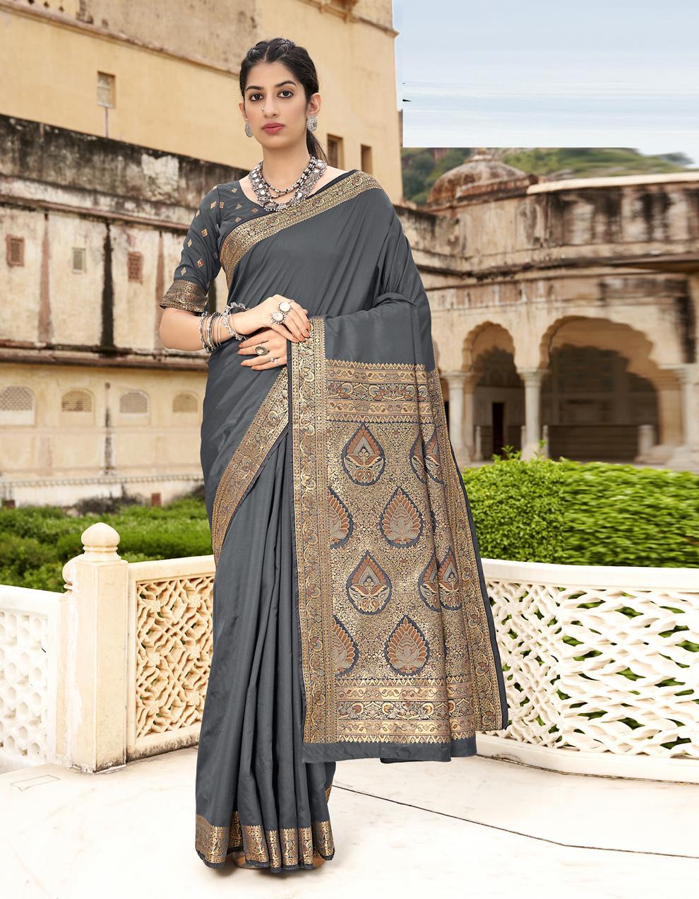 Grey Silk Saree With Blouse SD25251