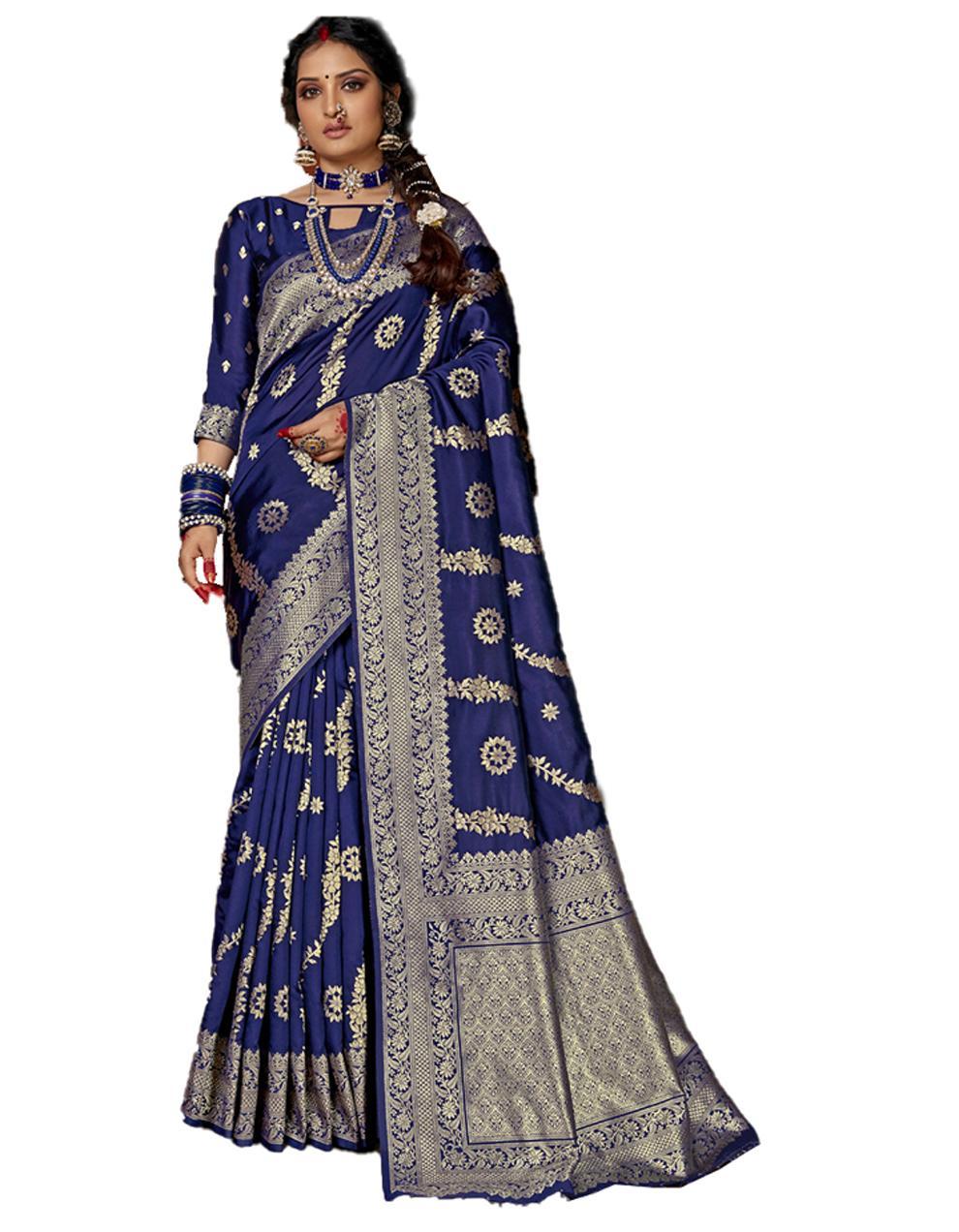 Navy blue Banarasi Silk Saree With Blouse SD24162