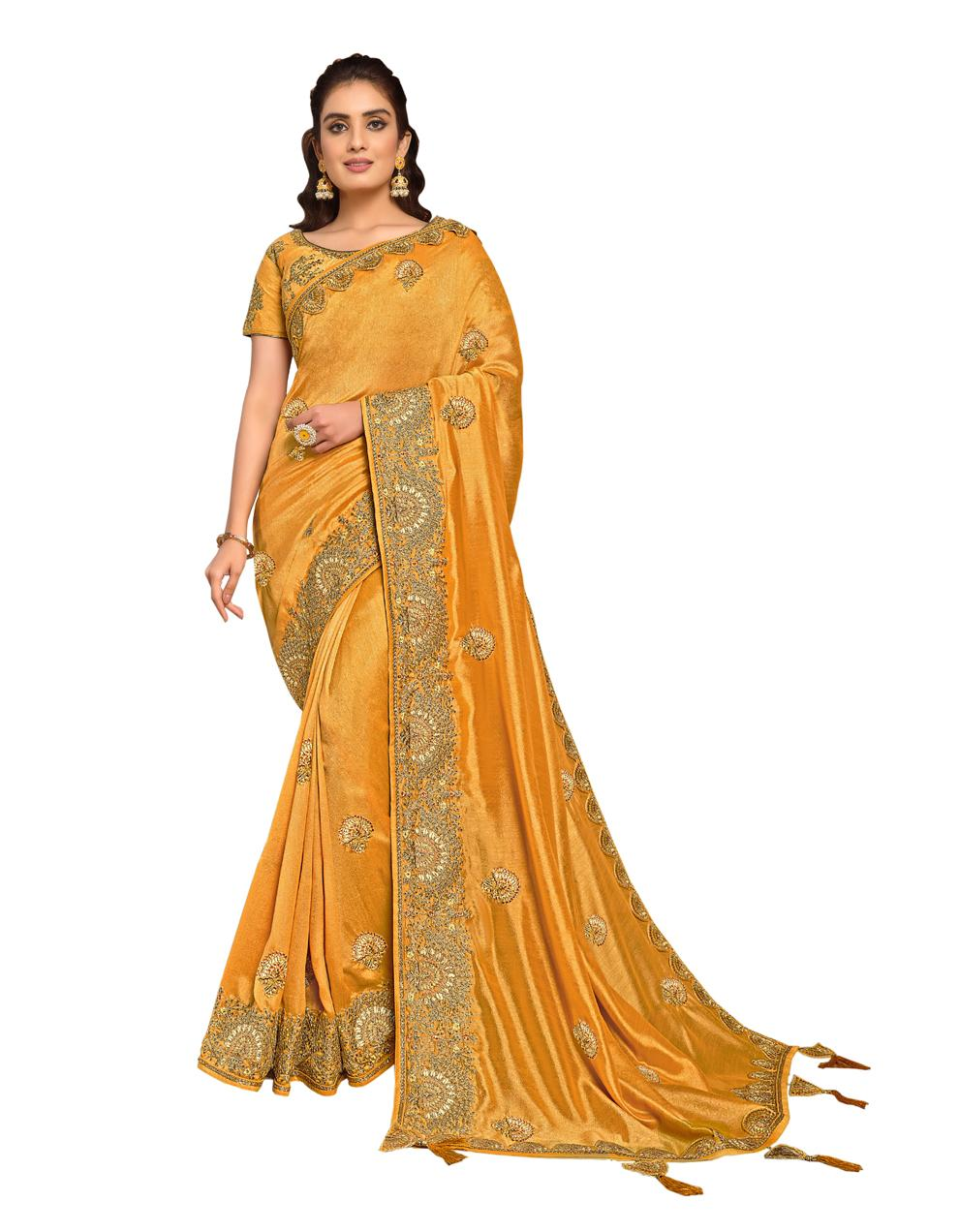Yellow Silk Georgette Saree With Blouse MH25088