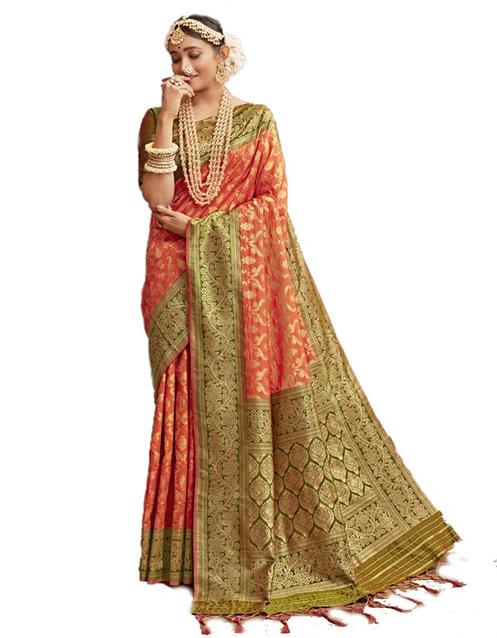 Multicolor Banarasi Silk Saree With Blouse SD24216