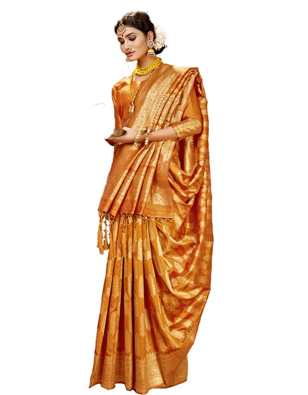 Yellow Banarasi Silk Saree With Blouse SD24178