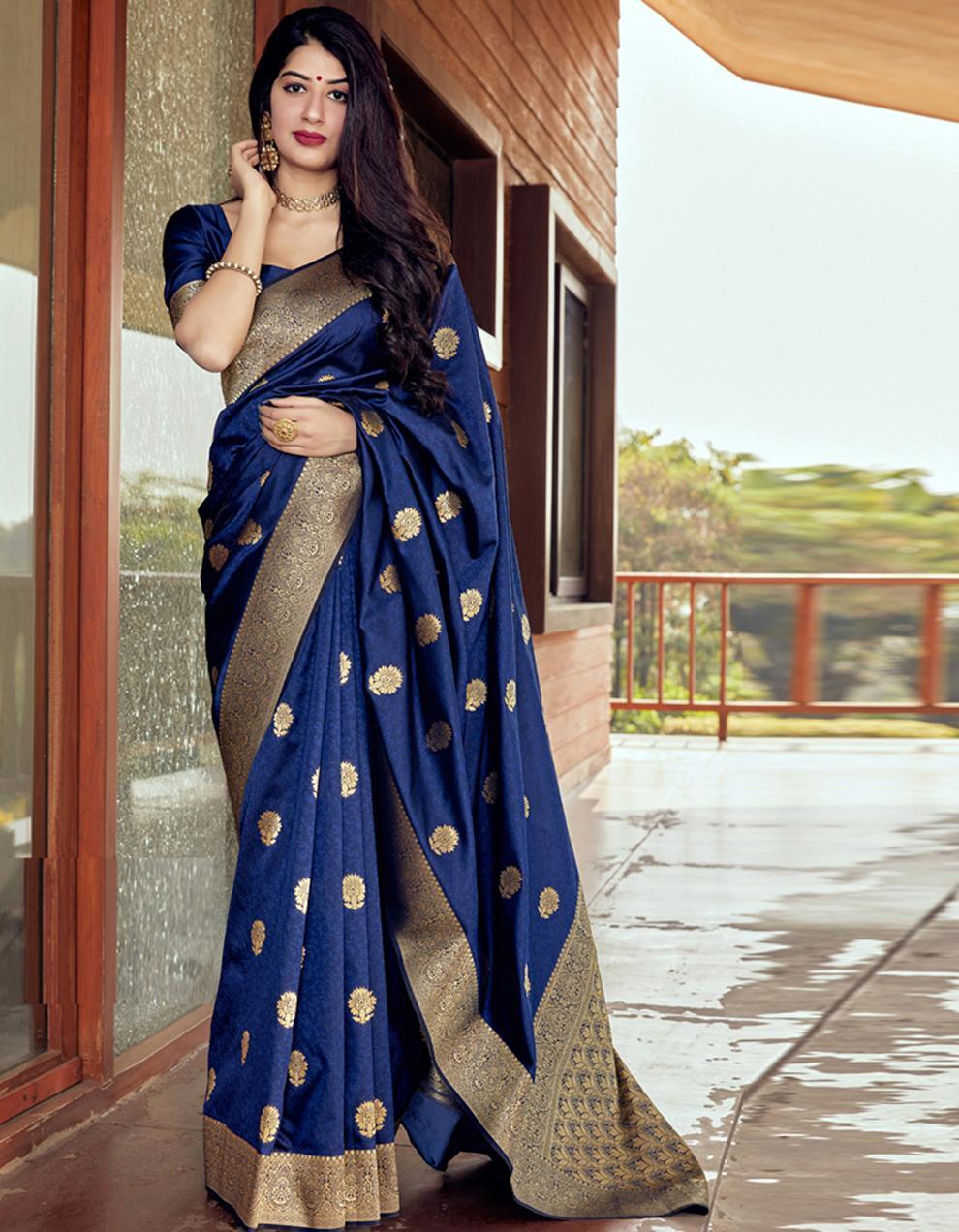 Navy blue Silk Saree With Blouse SD24074