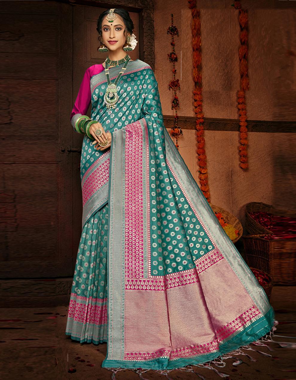Multicolor Lichi Silk Saree With Blouse SD24103