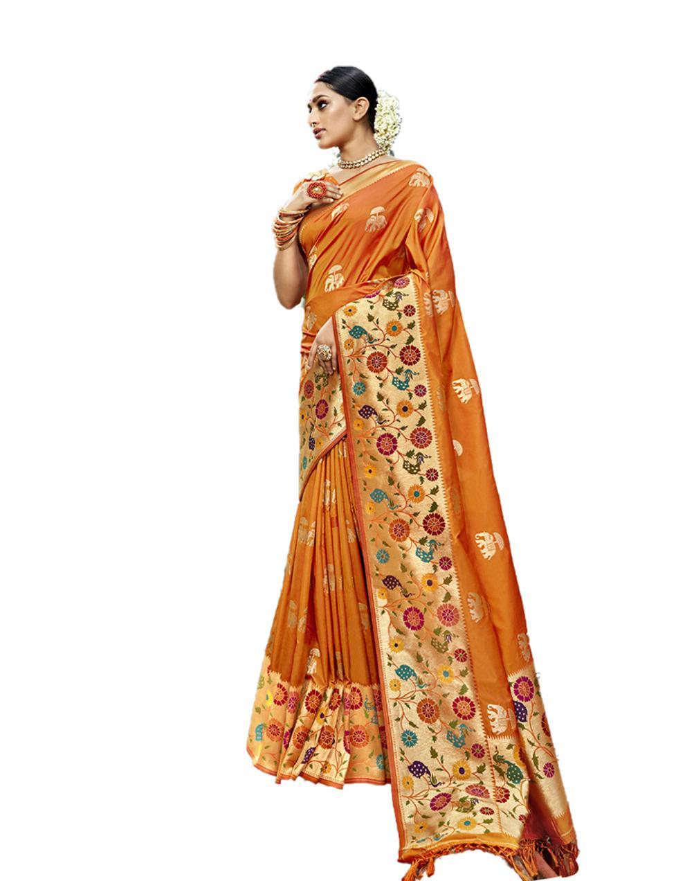 Yellow Silk Saree With Blouse SD23825
