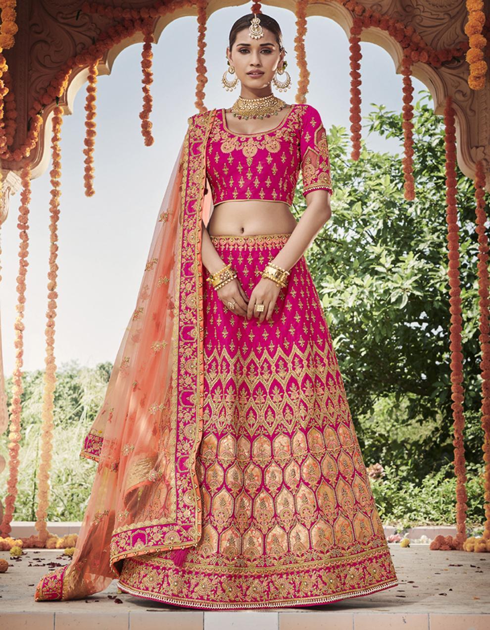 Silk Rani pink Semi Stitched Lehenga with Choli And Dupatta LSD2797