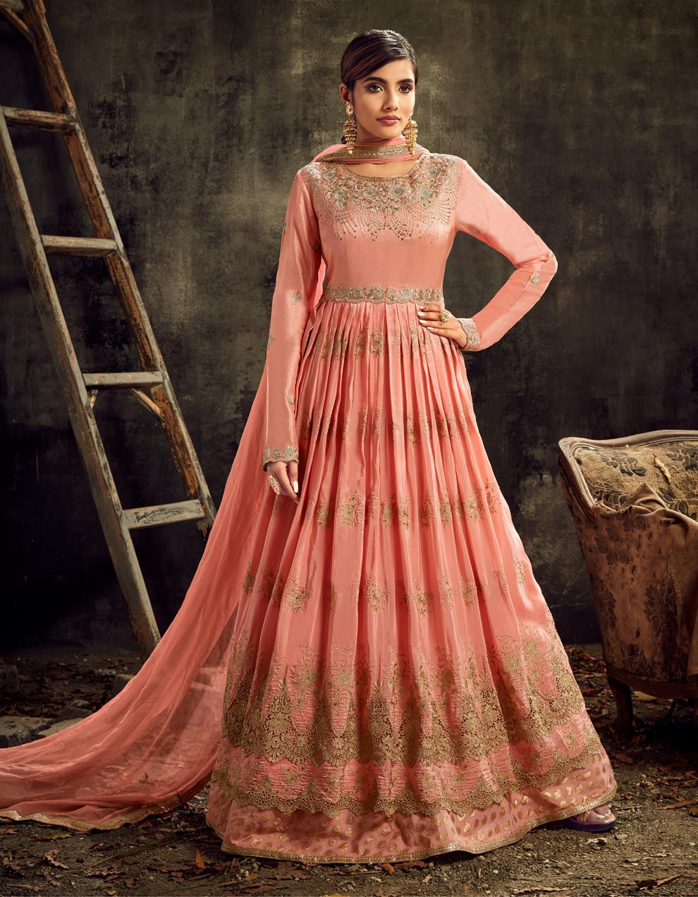 Peach Upada Silk Anarkali Suit SHL8576
