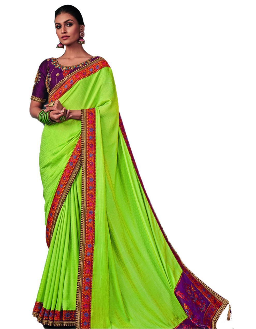 green Silk Saree With Blouse SD24197