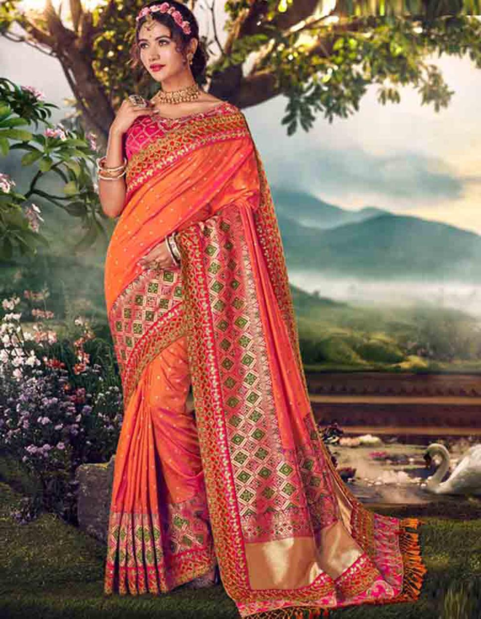 Multicolor Banarasi silk Saree With Blouse SD23883