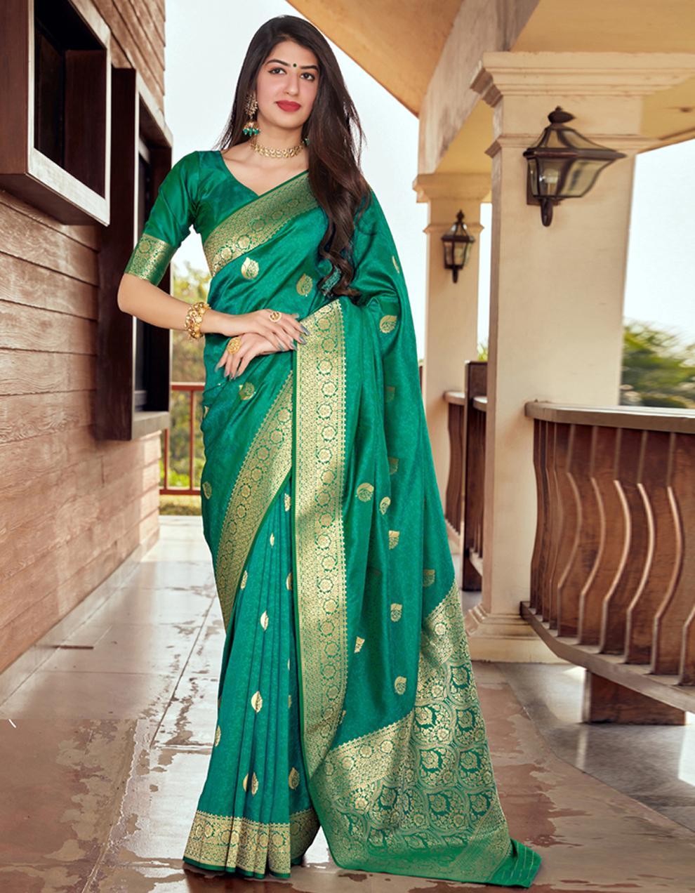 Green Silk Saree With Blouse SD24083