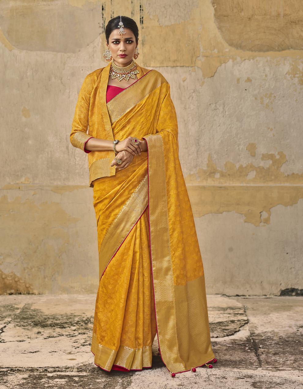 Yellow Jacquard Silk Saree With Blouse SD25280
