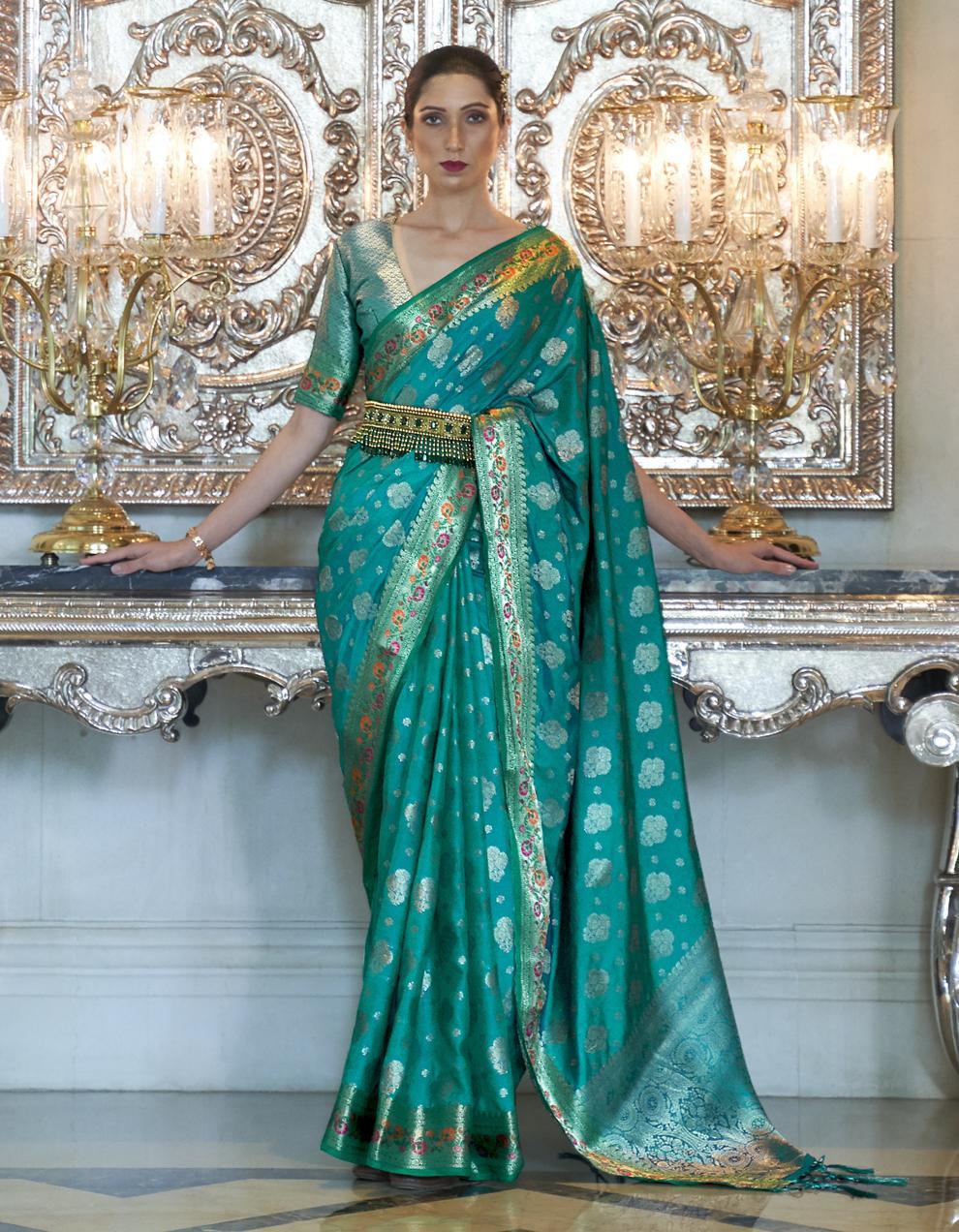 Sea green Pure Satin Silk Saree With Blouse SD25273