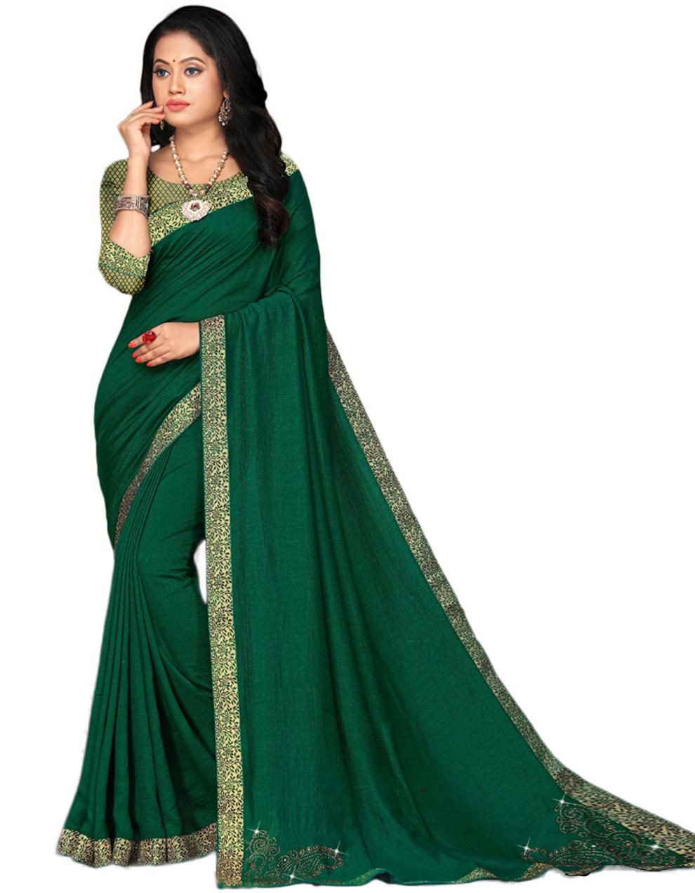 Green Vichitra silk Saree With Blouse IW24332