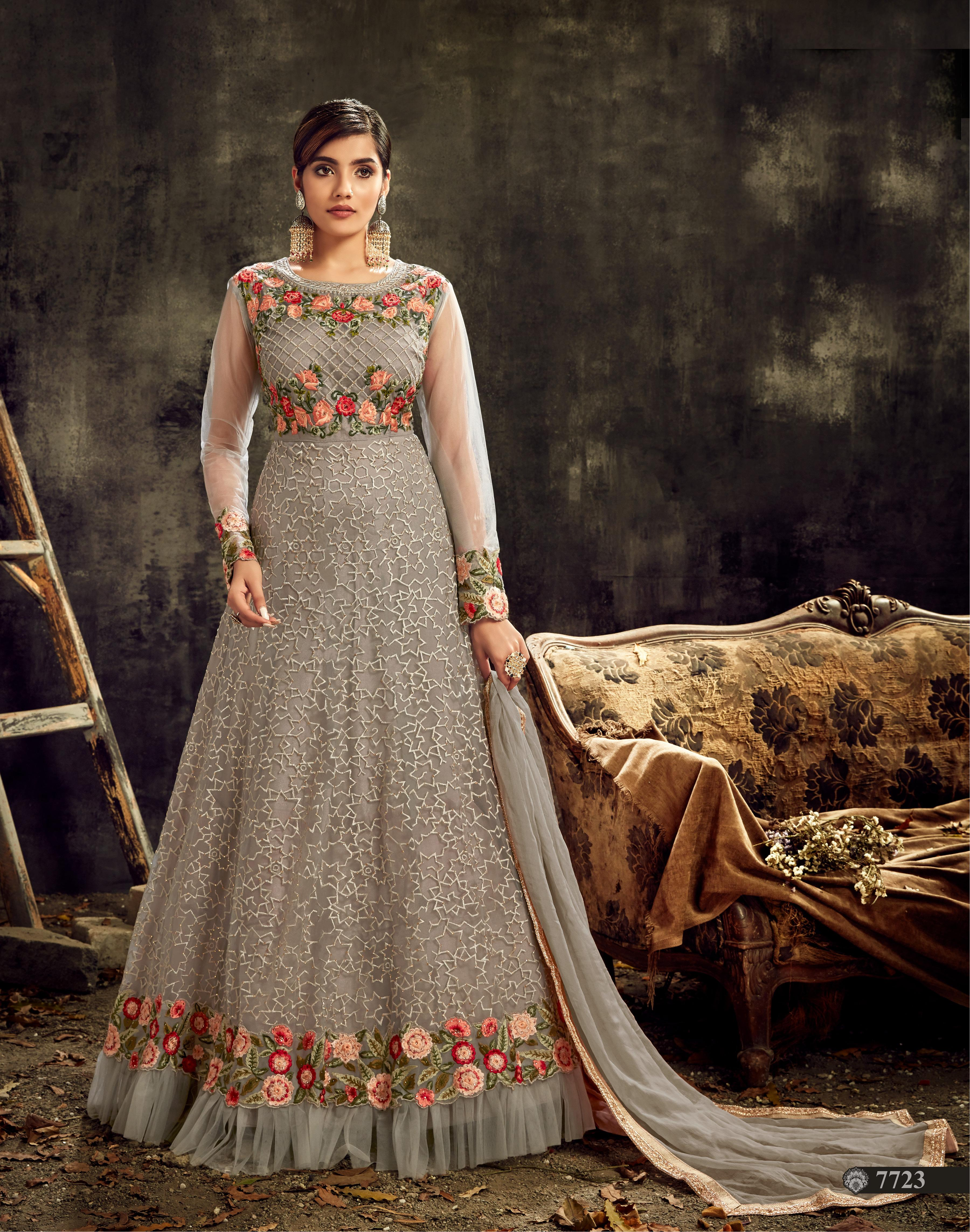 Grey Butterfly Net Anarkali Suit SHL8575