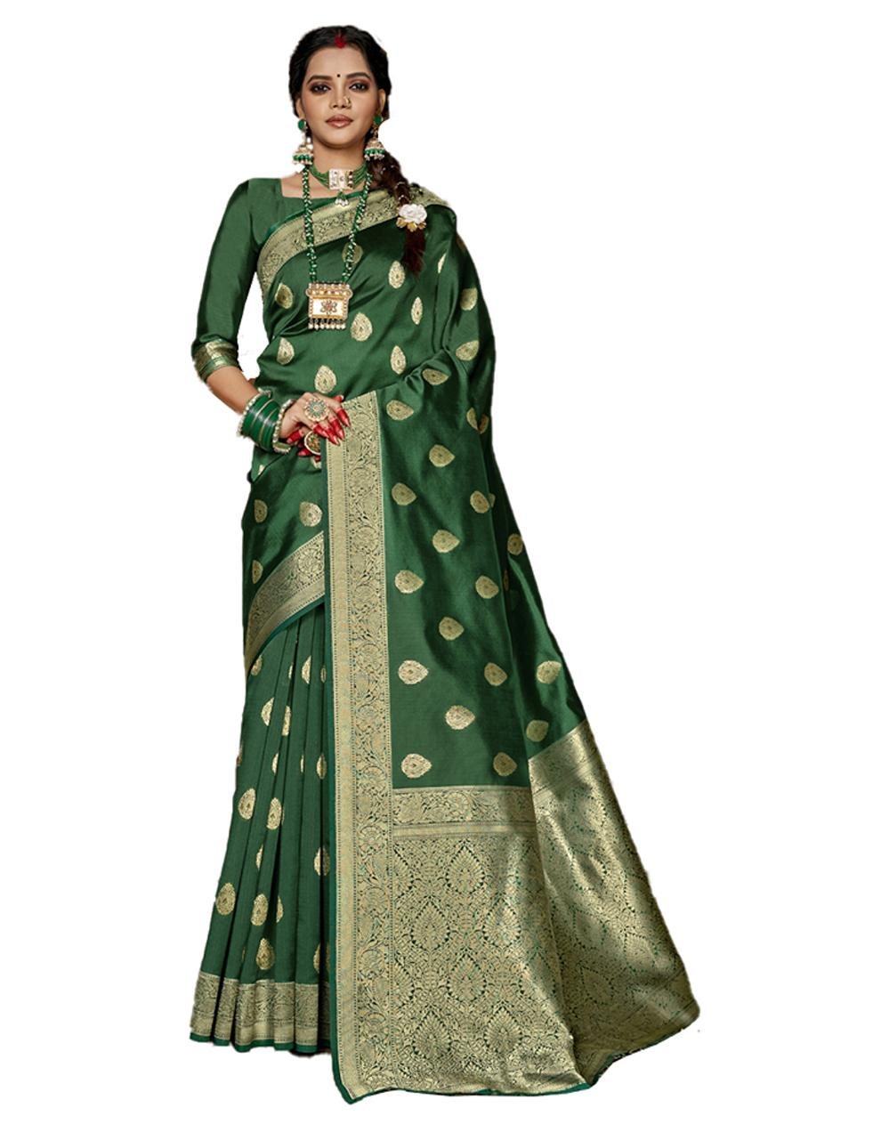 Dark green Banarasi Silk Saree With Blouse SD24150