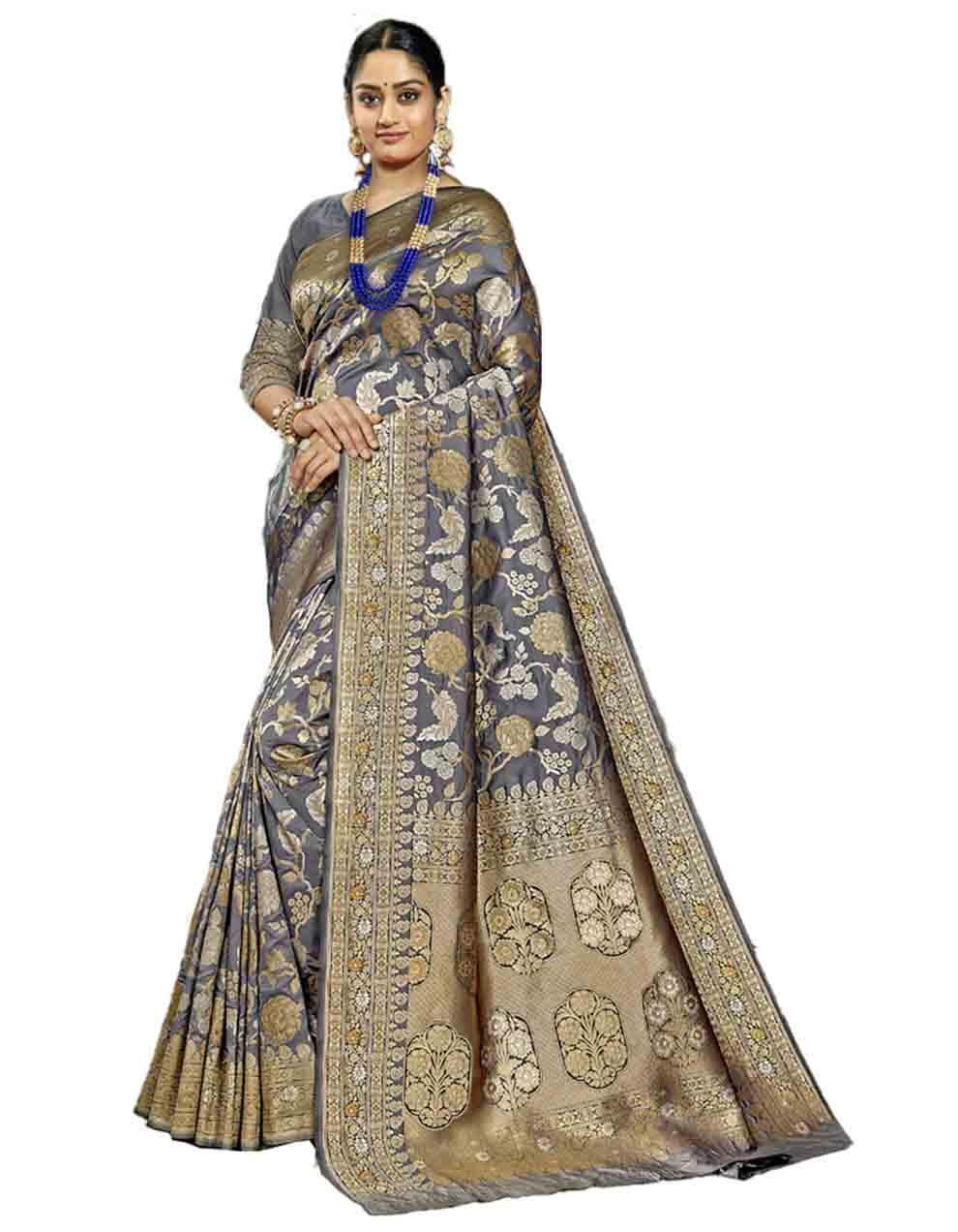 Grey Silk Saree With Blouse SD23759