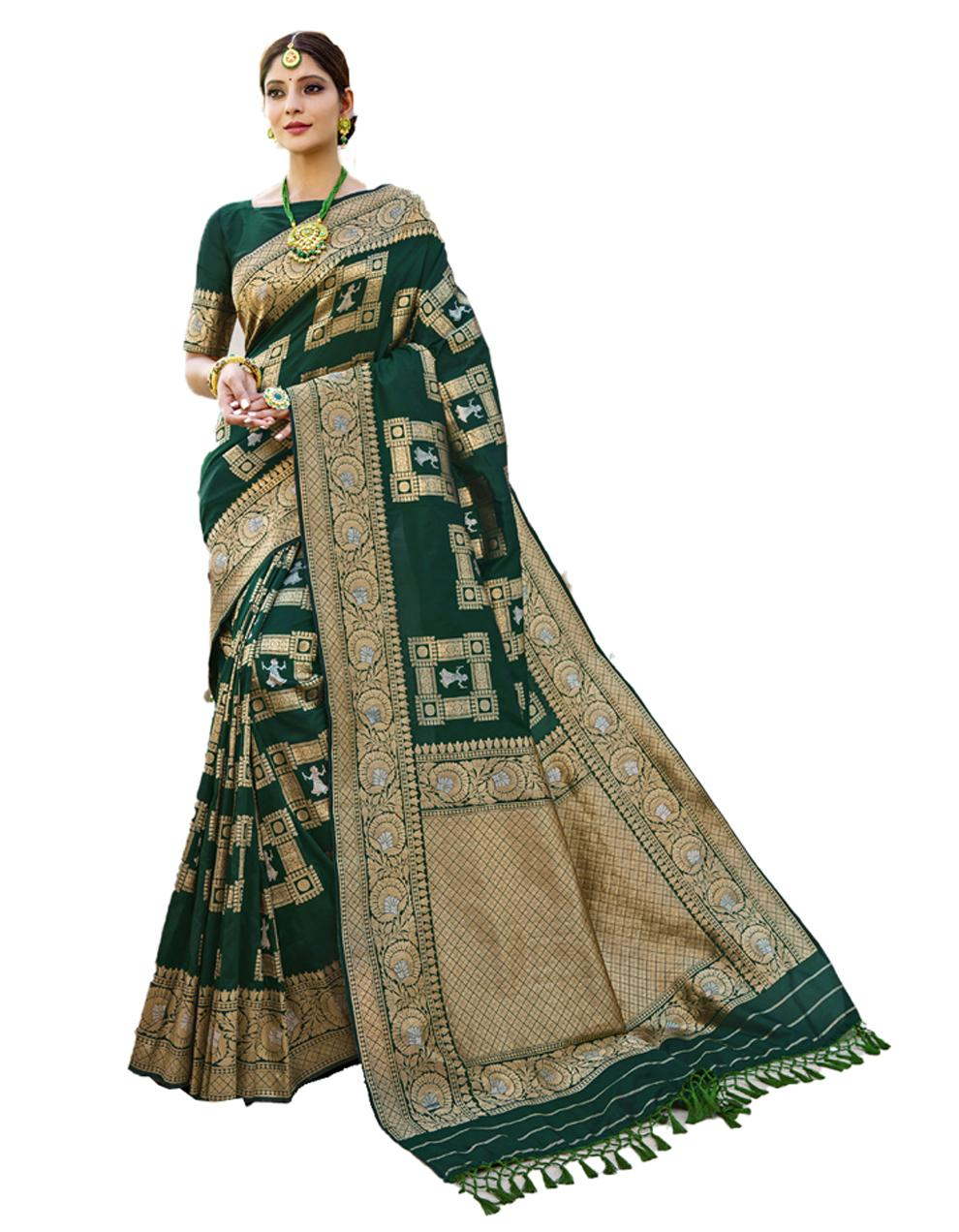 Dark green Banarasi Silk Saree With Blouse SD24210