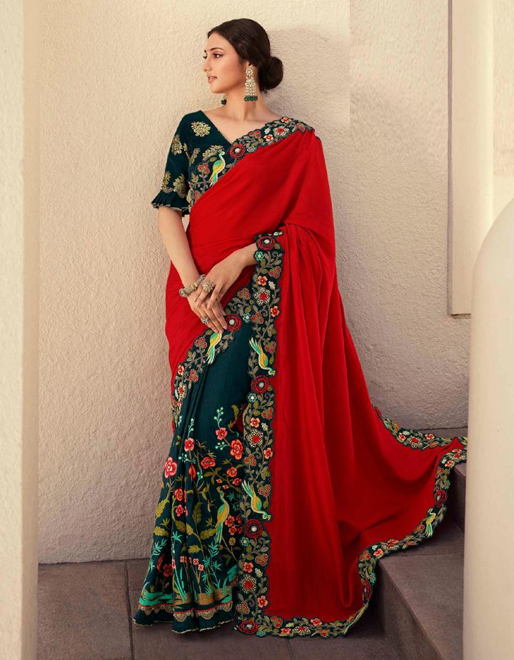 Red  Fancy Fabric Saree With Blouse MH25057