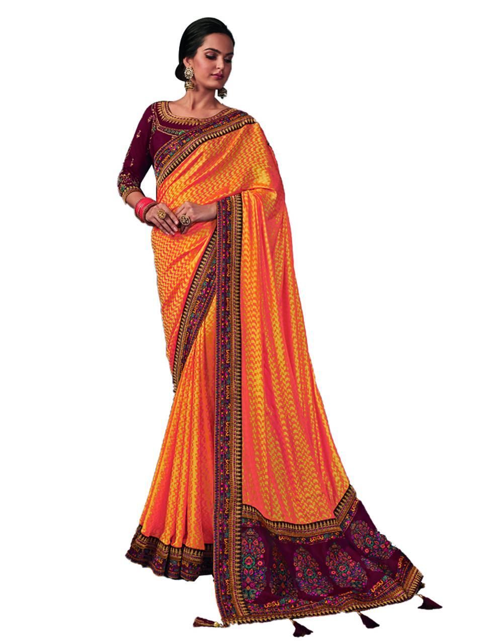 Yellow Silk Saree With Blouse SD24200