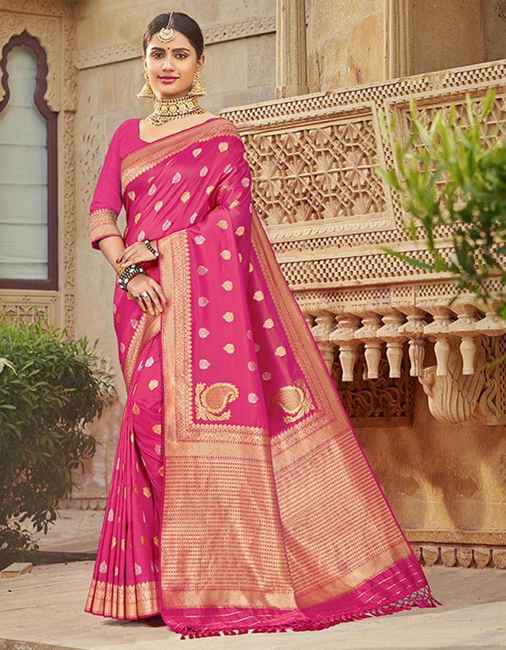 Pink Silk Saree With Blouse SD23779