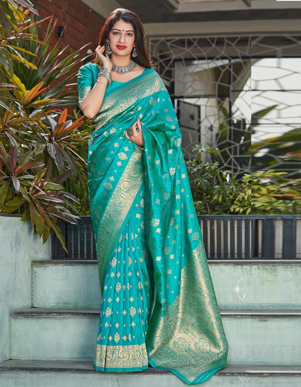 Blue Silk Saree With Blouse SD24133